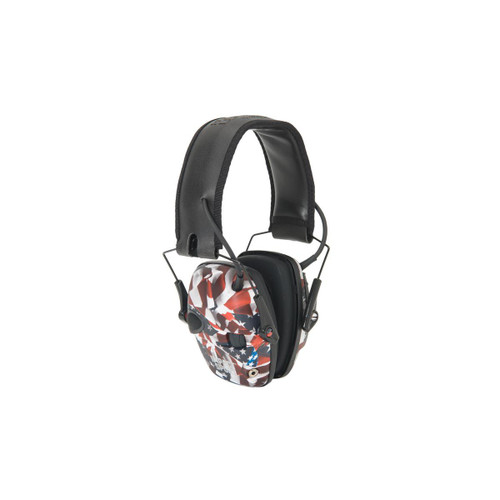 Product Description 33552-R-02529 Celebrate the men and women in uniform with the Howard Leight Honor Collection featuring three new colors in the best selling Impact Sport Electronic Earmuffs; One Nation®, Real Blue and Smoke.  At the range or on the hunt, the Howard Leight Impact Sport Electronic Shooting Earmuff keeps you protected from hazardous noise and connected to your environment. It carries a Noise Reduction Rating (NRR) of 22dB.  When the electronic ear protection is switched on, it employs built-in directional microphones that amplify ambient sounds to a safe 82dB. This allows you to hear important commands on the range and crucial environment sounds when hunting. For additional shooting hearing protection, it also actively listens and automatically stops amplification when loud impulsive sounds like firearm discharges exceed 82dB.  Air Flow Control technology allows for a slim earcup design that ensures your firearm stock has clearance while shooting. The padded headband features telescopic height adjustment for a comfortable, customized fit. An external audio jack lets you connect the shooting earmuff to music device or scanner or another audio source. The battery delivers approximately 350 hours of usage, and the automatic shut-off feature engages after 4 hours to help save battery life. All Howard Leight electronic earmuffs and safety eyewear are compatible for use with each other. Features: Built-in directional microphones amplify range commands and other ambient sounds to a safe 82dB, providing more natural listening and enhanced communication. Actively listens and automatically stops amplification when ambient sound exceeds 82dB. Features low profile earcups for firearm stock clearance; adjustable headband for secure fit; compact folding design for convenient storage. Includes AUX input and 3.5mm cord to connect with your music device or radio scanner or another audio source. Includes 2 AAA batteries; automatic shut-off feature after 4 hours increases battery life; approximately 350 hours of battery life. Noise Reduction Rating (NRR): 22dB. SKU R-02529SIOC