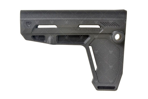"""The Strike Industries AR Pistol Stabilizer. The Strike ARP offers a no-compromise, feature-packed stabilizer at an affordable price point. The entire stabilizer was designed to be ergonomic and comfortable along all planes. The overall design eliminates any snag hazards and abrasion zones resulting in a comfortable cheek-weld and stabilizing interface.  Utilizing a large tapered set screw used to securely lock it in place at different positions, the pistol stabilizer can fit on pistol buffer tubes up to 1.25"""" in diameter, including Strike Industries' Slick-line of pistol buffer tubes. Additionally the stabilizer comes with built-in ambidextrous QD cups for expanded sling mounting options.  The stabilizer accomplishes all this while being sleek, ultra-lightweight, and rock solid. Form and function through innovation at the right price? That's the Strike Industries way.  Torque: Do not exceed 25 inch lbs for the locking screw.  Warning: Use of this and all Strike Industries' Products is subject to all applicable federal, state and local laws and regulations. It is the purchaser's obligation to check for compliance before purchasing. Modifying or redesigning the Stabilizer may be subject to NFA regulation and is not recommended."""