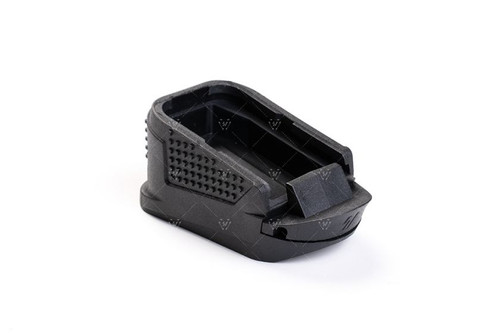 The Strike Industries Extended Magazine Plate for GLOCK™ G26 GEN3 or GEN4&5 was designed to provide a smoother magazine reloading through a low drag / no snag design. The Extended Magazine Plate (EMP) for G26 provides multiple functions to include an additional +2 rounds as well as an extended grip surface which provides extra finger space for better grip and control on GLOCK™ OEM G26 magazines. With better ergonomics, it provides higher accuracy potential over the base model subcompact. Designed to match the look of the factory GLOCK™ grip frame, it seamlessly blends in. The Strike Industries EMP for G26 is a must have addition for your EDC.  COMPATIBILITY: GLOCK™ 26/27/33 GEN3 or GEN4&5  NOTE: Not for sale to California residents due to 10-round state laws. The checkout process will show NO shipping method available.