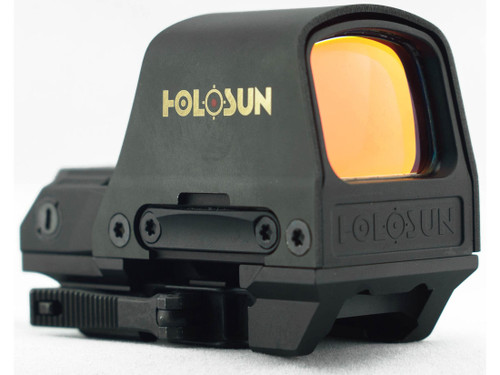 he HS510C Reflex Sight has an open frame for a wide sight picture. Always on, it is powered by solar cell under normal usage, and a back-up battery to supplement power requirements in low light conditions. The reticle can be switched between a 65 MOA circle with 2 MOA dot, or a 2 MOA dot only at the push of a button. Better yet, the same LED projects both reticles, so no re-zeroing is necessary.   Features  When focusing on the target, the size of the reticle will change based on the distance between your eyes and objective lens Parallax free optical design, with unlimited eye relief Minimized obstruction of vision with push button controls and a streamlined housing design Switchable circle/dot and red dot reticles Always on unless manually turned off Solar cell and high capacity battery provide dual power supplies Quick release mount