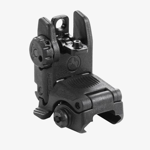The MBUS (Magpul® Back-Up Sight) is a low-cost, color injection molded, folding back-up sight. The dual aperture MBUS Rear Sight is adjustable for windage and fits most 1913 Picatinny rail equipped weapons, but is specifically tailored to the AR15 / M16 platform.  Made in the USA.  SPRING-LOADED FLIP UP SIGHT  Spring-loaded flip up sight easily activated from either side or by pressing the top  Protective wings shield the dual, same plane flip apertures  Sight can still be folded with either large or small aperture in position  Detent knob easily and positively adjusts windage  IMPACT-RESISTANT POLYMER CONSTRUCTION  Polymer construction provides light weight and resists operational abuse    DETENT AND SPRING PRESSURE KEEPS SIGHT ERECT  Detent and spring pressure keeps sight erect but allows for unobstructed folding under impact, etc.  CLAMPS TO MOST MIL-STD-1913 PICATINNY RAILS  Clamps to MIL-STD-1913 Picatinny/STANAG 4694 receiver rail and provides the same height-over-bore as standard A2 irons
