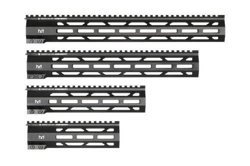NLA  AR15 MLOK Handguards  Designed to match our AR15 receivers, we machine our AR15 Mlok handguards from aluminum extrusions in house and hard coat anodize to mil-spec tolerances.  A solid billet steel barrel nut ensures a solid and stable mount to your receiver.   Whether you shoot for competition, hunting, or competition, we designed our handguards for comfort and strength without added weight.   Each handguard features MLOK attachment points on both sides and the bottom of the handguard.  Each handguard includes one 5 slot MLOK rail section and shims for timing the barrel nut.   Available in 7″, 9″, 13″, and 15″ lengths.  Inner diameter is 1.4″