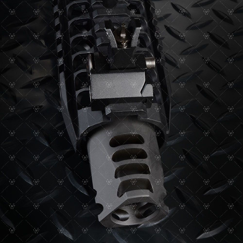 "The Strike Industries FAT COMP (FC)!  The FC comes in four different versions and is designed to integrate seamlessly with the SI Cobra Dummy Suppressor.  The FAT COMP features four different styles made to fit any desired look.  Its 1.5"" diameter can also fit inside most free float handguard rail systems and directly attaches to any AR barrel with a 1/2""x28 thread pitch.  All FAT COMPs are made of steel and coated with a matte black finish."