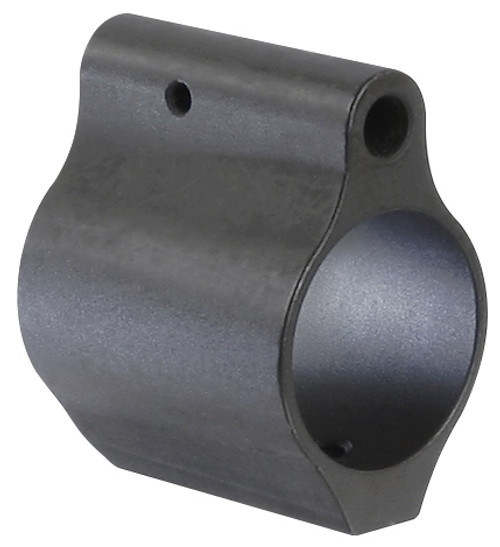 """1.125 inches in length Constructed from 4140 steel Low profile design will fit under most commercially available handguards Secures to the barrel with two set screws  Weight: 1.3 oz Inside Diameter: .750"""" Length: 1.125"""" Height: 1.355"""" Width: .850"""" Distance between screw holes: .450"""""""