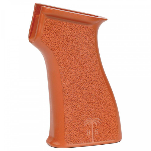 Addressing a common concern among AK owners that the standard grip is too small, the US PALM AK Grip delivers more control through an ergonomic, ultimately more comfortable design.  This full-size Westernized rifle grip features a palm swell shaped to drive the user's hand up, and into, the receiver/grip junction. Aggressive stippling ensures a positive grip.  For the absolute #1 improvement to your AK, go with a US PALM AK Grip. Proudly made in the U.S.A.