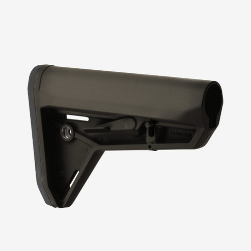 The MOE SL Stock - Mil-Spec Model (MOE Slim Line) is a drop-in replacement buttstock for AR15/M4 carbines using Mil-Spec sized receiver extension tubes.  Designed for the modern battlefield, the sleek profile, dual-side release latches, rolled toe, and angled rubber butt-pad are optimized for use with body armor or modular gear and provides for efficient shoulder transitions.  Made in the USA.