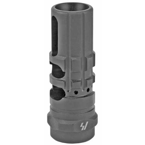The SI JCOMP Gen2 is the classic Type 89 compensator re-engineered and updated for the 21st century.  Due to end user feedback, the favorite features of the original are retained, but the J Comp now features increased muzzle rise compensation, and is available in 7.62x39mm and .308/7.62x51mm in addition to 5.56x45/.223. Now also compatible with Oppressor and FerFrans concussion reduction devices.   The J-COMP concept comes from the Type 89 Japanese assault rifle used by the Japan Self-Defense Forces, the Japan Coast Guard's Special Security Team units, and the Special Assault Team.    Package Contents: -x1 JCOMP Gen2 for AR .223/5.56 or .308/7.62 -x1 Crush washer  Features: -2 chamber design greatly increases recoil management -Hybrid muzzle brake/compensator -Pre-drilled for pinning and welding