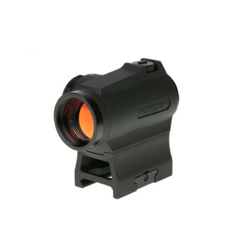 "PRODUCT DETAILS DETAILS Magnification: 1x Objective Diameter: 20mm Light Source: LED Reticle: 2 MOA Dot Parallax Free: Yes Unlimited Eye Relief: Yes Housing Material: Aluminum Surface Finish: Black MAO Click Adjustment: 1/2 MOA Adjustment Range: 50 MOA Battery Type: CR2032 Battery Life: Up to 100,000 Hours Length: 2.75"" Width: 1.43"" Height: 1.62"" Weight: 3.53 oz. Brightness Setting: 10 Daylight & 2 Night Vision Compatible FEATURES The HS403R is a small compact micro red dot optic that features Holosun's new rheostat dial to adjust brightness settings. This new intensity control brings you everything you love about a Holosun, only faster! Employing Holosun's ultra-efficient LED technology, the HS403R can achieve a ""constant on"" battery life of up to 5 years.  Features:  New rotary control for faster operation and visual brightness indicator • Advanced technology LED allows up to 100,000 hours of operation on one CR2032 battery 2 MOA on dot size Unlimited field of view Parallax-free with unlimited eye relief Durable and reliable construction Low mount and 1/3 Co-witness mount included    Palmetto State Armory will help you Stay on Target with the best deals on Rifle Scopes, Red Dots, Holographic and Iron Sights in the business."