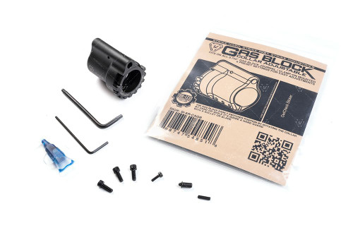 """Torque: Recommended value for the 3 clamp screws should be no more then 15 in/lbs (1.69 nM)  Features: - Tool-less adjustment collar - 6 preset settings for easy adjustments - Clamp-On mounted - Fits on all 0.750"""" gas block journal  Package includes: 1x gas block housing 1x gas block rotator collar 3x clamp screws 1x spring loaded detent 1x Warning card  Compatibility Mil-Spec barrels that have a gas block stop.  *Use included allen keys for installation. Not doing so may cause set screws to strip. We recommend all parts be installed by a licensed gunsmith. Recommended torque value for the 3 clamp screws should be no more then 15in/lbs.  -CALIFORNIA PROPOSITION 65 WARNING:- WARNING: This product contains chemicals known to the State of California to cause cancer and birth defects or other reproductive harm. For more information: www.P65Warnings.ca.gov"""