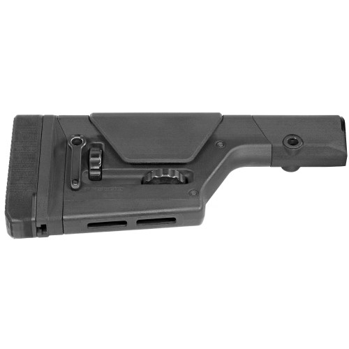 The PRS GEN3 is a field precision stock for AR15/M16 and AR10/SR25 platforms, featuring tool-less length of pull and cheek piece height adjustment. With solid adjustments for length of pull and cheek piece height via aluminum detent knobs, the PRS GEN3 (Precision Rifle/Sniper) stock provides a stable interface and is intended for semi-automatic sniper or varmint type rifles. Offering a nearly universal fit, it is optimized for rifle-length receiver extensions but will also mount to many mil-spec carbine and A5-length tubes. Includes a cant/height-adjustable rubber butt-pad and rotation-limiting QD sling swivel cups as well as M-LOK slots on the bottom for rear monopod mounting. Made in U.S.A.