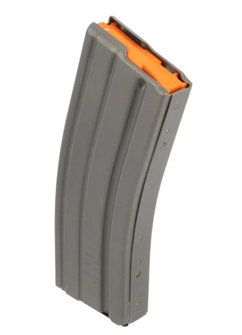DETAILS  DURAMAG Aluminum AR-15 Magazines are built from high-quality materials and components for long-term reliability. Made from 6061-T6 aluminum, the DURAMAG 5.56 magazine features an olive drab green color included in the type III hardcoat anodizing process making it part of the metal. Unlike polymer magazines, these aluminum mags are safe to store while loaded as they won't flex or swell and feature a 30-round capacity.  Features: AR-15 compatible 6061-T6 aluminum Type III hardcoat anodized 30-round capacity Anti-tilt follower Gray with orange follower SPECIFICATIONS  BrandDURAMAGCaliber Gauge5.56 NATOMagazine Capacity30PlatformAR-15 Magazines