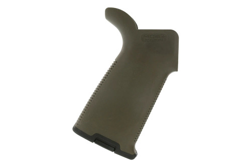 The MOE+ Grip combines reinforced polymer body construction with comfortable, wrap-around rubber overmolding for maximum weapon control in adverse environments.   With a similar shape to a 'medium' sized MIAD, this AR15 / M4 drop-in design features a hard-polymer bottom edge to reduce the possibility of equipment snags or grip damage. The MOE+ Grip accepts optional Storage Cores for gear stowage and includes a basic grip cap.  All mounting hardware included.  Made in the USA.    PlatformAR10, AR15, M4, M16, M110, SR25 Grip Angle25 degrees Height, receiver to bottom4.0 in. Thickness, max1.2 in. Weight3.4 oz. Other Specs *NOTE: This grip will function properly with 7.62 NATO AR10/SR25 style of rifles but, depending on the make of the rifle, may or may not leave a gap between the 'beaver tail' and the receiver. This gap is purely aesthetic and will not affect function.
