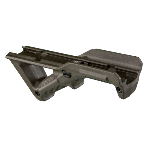 Compatible with most any M1913 Picatinny-railed hand guard, the Magpul AFG (Angled Fore Grip) takes into account natural body mechanics and provides a comfortable and stable user interface that reduces fatigue and allows for more precise weapon control. By positioning the shooter's hand high on the centerline of the bore, unlike conventional vertical fore grips, the AFG helps mitigate recoil and control the weapon to facilitate faster, more accurate follow-up shots.  All mounting hardware included.  Made in the USA.    More Information Height, over rail1.75 in. Length5.55 in. Weight2.92 oz. Other Specs Width, maximum: 1.77 in.