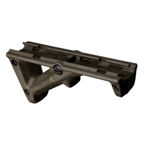 The AFG-2 (Angled Fore Grip) is a slim line design that is shorter in overall length and width compared to the original AFG. By positioning the shooter's hand high on the centerline of the bore, unlike conventional vertical fore grips, the AFG-2 helps mitigate recoil and control the weapon to facilitate faster, more accurate follow-up shots.   Its smaller size allows mounting on a wider variety of railed hand guards and better compatibility with rail covers and accessory mounts. Compatible with most any M1913 Picatinny-railed hand guard, the Magpul AFG-2 takes into account natural body mechanics and provides a comfortable and stable user interface that reduces fatigue and allows for more precise weapon control.   Made in the USA.    Attachment1913 Picatinny RailsHeight, over rail1.94 in.Length4.70 in.Weight2.53 oz.Other Specs  Width, maximum: 1.37 in.