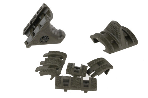 The four-piece XTM Hand Stop Kit serves as a lightweight, low-profile rail mounted index point for improved weapon control, or as a forward stop to prevent the shooter's hand from reaching the hot front sight assembly or muzzle.  The kit includes one Hand Stop, one Index Panel, one full XTM Enhanced Panel, and one XTM Enhanced Half Panel.  Made in the USA.    Attachment1913 Picatinny RailsPlatformAR15, M4, M16