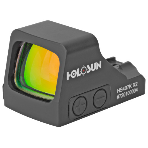 Holosun 407K-X2 Micro Red Dot The sub-compact pistol sized Holosun 407K-X2 Red Dot Sight provides a large field of view paired with useful features that will help you stay on target while greatly reducing target acquisition time. Though compact, this optic offers large brightness control buttons and a side access battery tray, which allows the operator to change the battery without un-mounting the product.  Holosun machined this product from light yet rugged 7075 T6 aluminum and added a multicoated lens that provides a bright, crisp sight picture. The Holosun 407K Red Dot Sight uses a high capacity lithium battery to power the optic, ensuring you'll always have a reliable point of aim in the field. These optics are designed with Shake Awake technology that senses motion to power the sight on and off, and last setting recall ensures you don't lose your customized options once the unit powers down. This model offers up to 50,000 hours of battery life with bright and crisp 6MOA dot only reticle. Enhance your shooting skills and create a better experience at the range by equipping your pocket pistol with a Holosun HS407K Red Dot Sight.