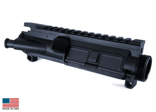 DESCRIPTION The KE-15 forged flat top complete upper receiver is precision machined from 7075-T6 forgings to MilSpec standards, made to fit all M16/M4 rifles and carbines. Featuring USGI type T marked top, making it easy to remount any of your tactical accessories. M4 Feed ramps are machined into the upper. Milspec type III hard anodized and ready to be assembled with your choice of components.  SPECIFICATIONS - Forward assist and ejection port cover installed.