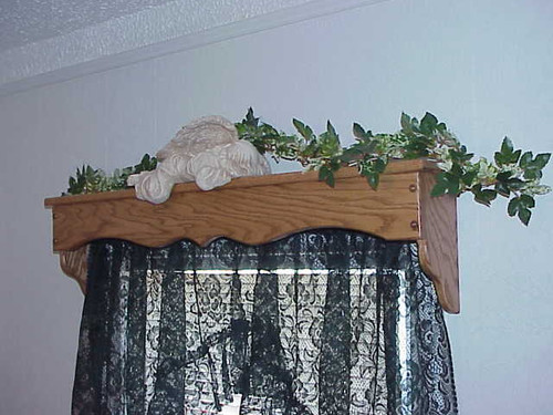 Handmade red oak window shelf and cornice