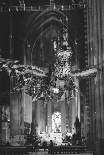 Chinese construction tool phoenix sculpture in St. John Divine Cathedral.