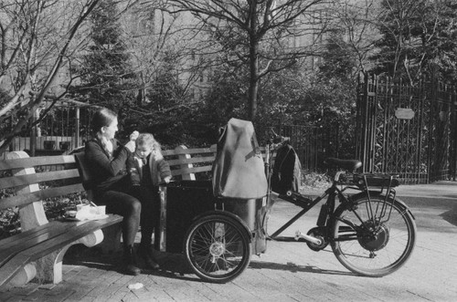 European tricycle with front box for child makes energy efficient  transportation.