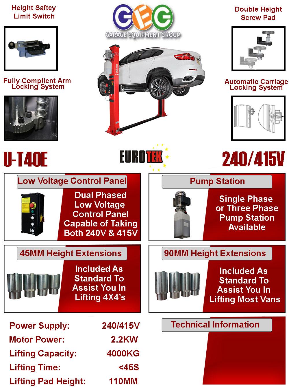 information flyer for Eurotek UT40E 2 post lift