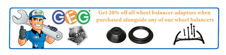 20% off wheel balancer adaptors when purchased alongside machine