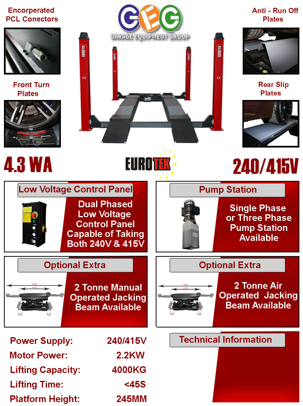information flyer for 4.3WA 4 post lift