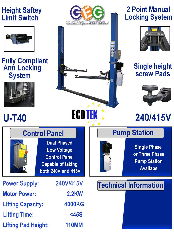 information flyer for ECOTEK UT40 2 post lift
