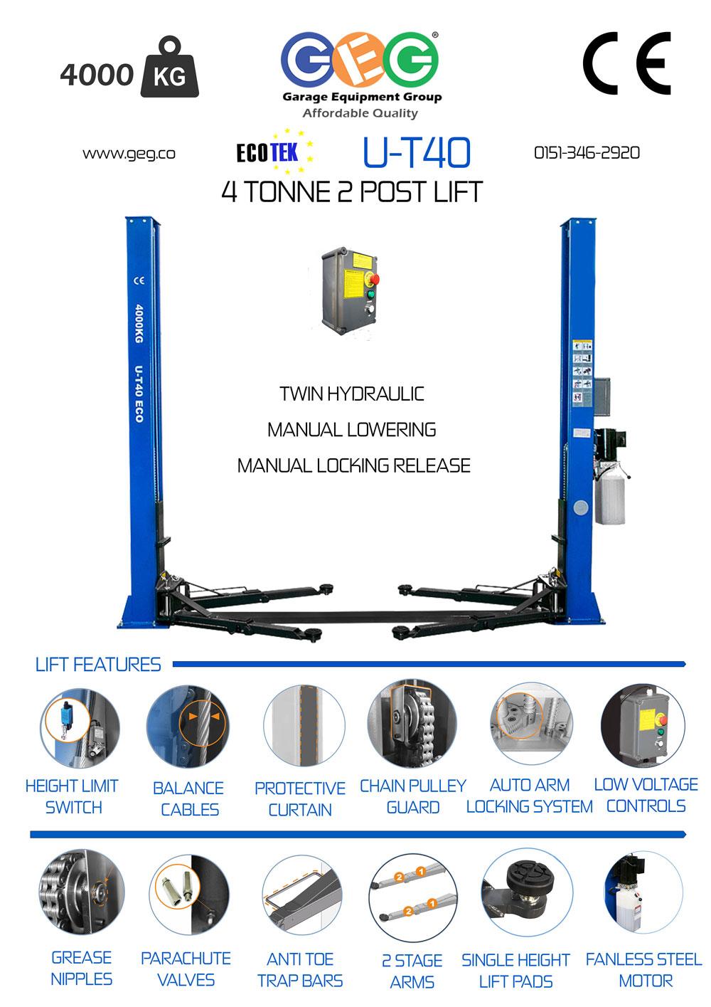 UT40 2 post lift Product information