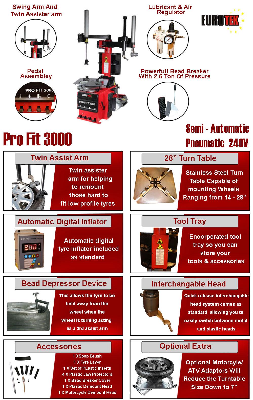information flyer for Eurotek pro fit 3000 tyre changer