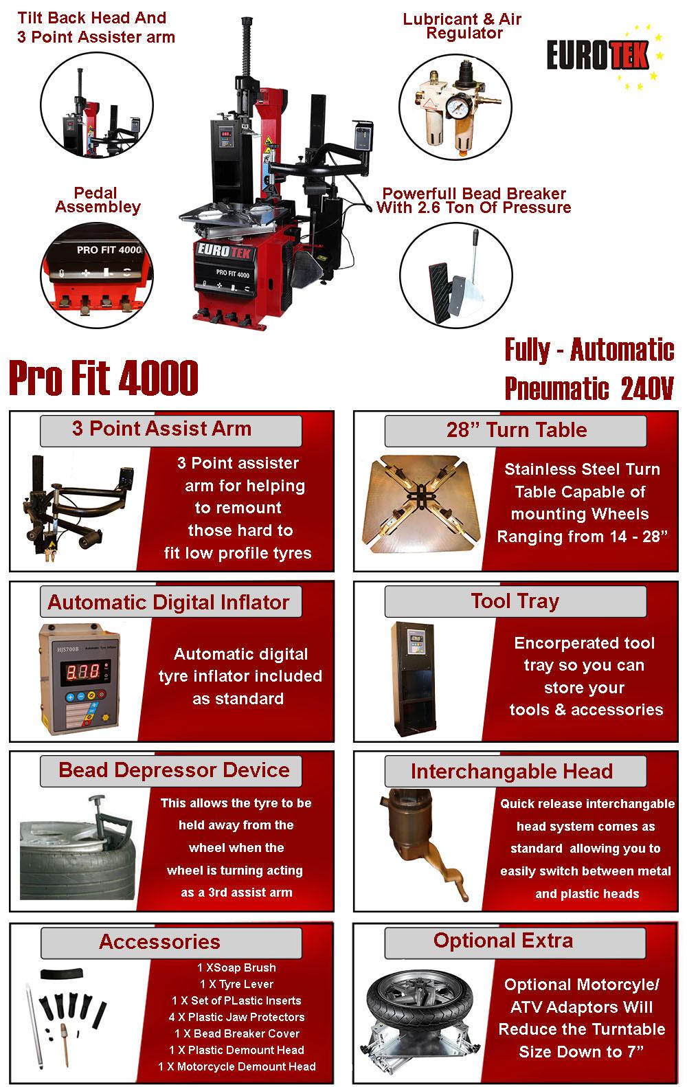 flyer for Eurotek pro fit 4000 tyre changer
