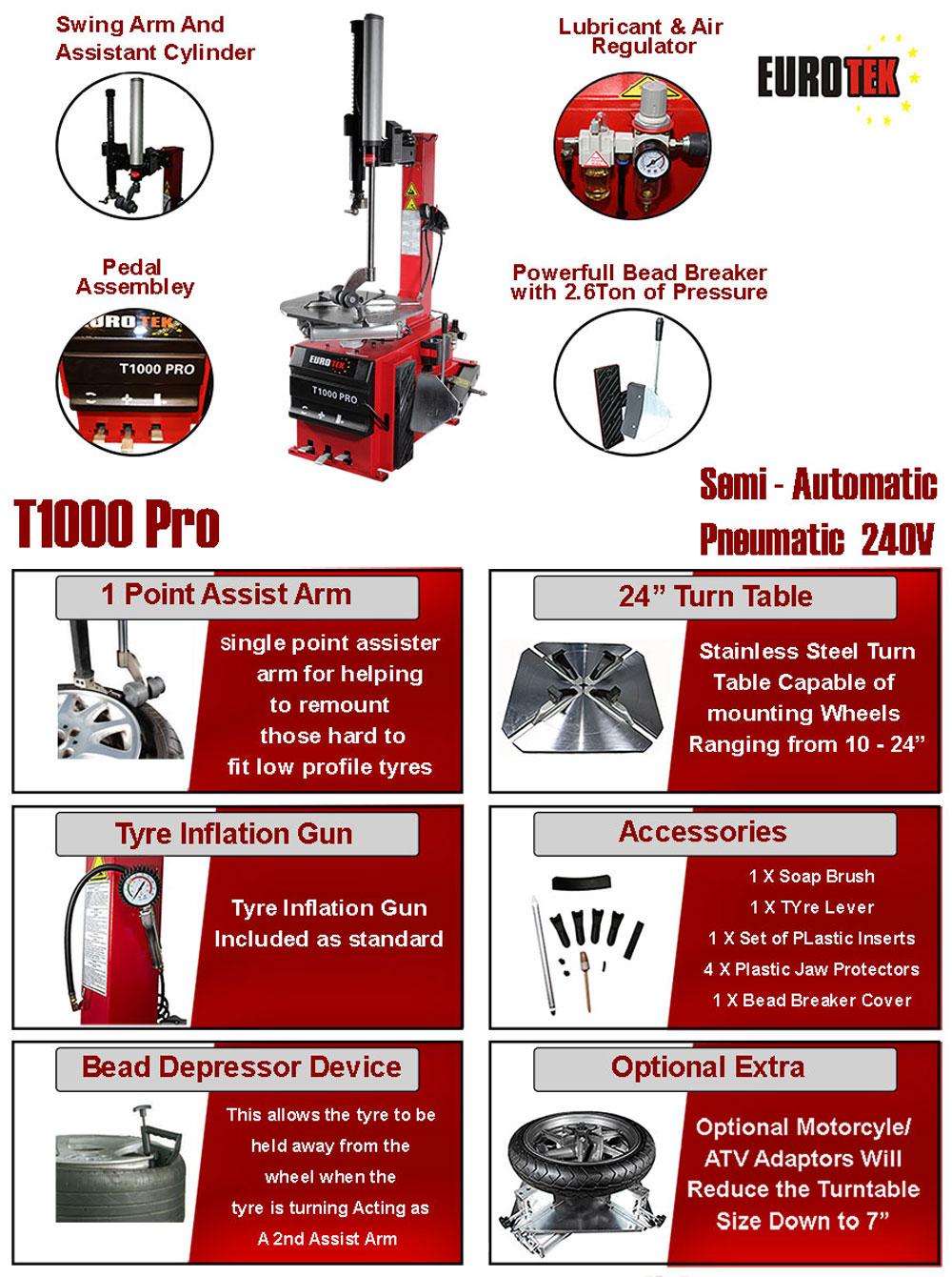 information flyer for Eurotek T1000 Pro tyre changer