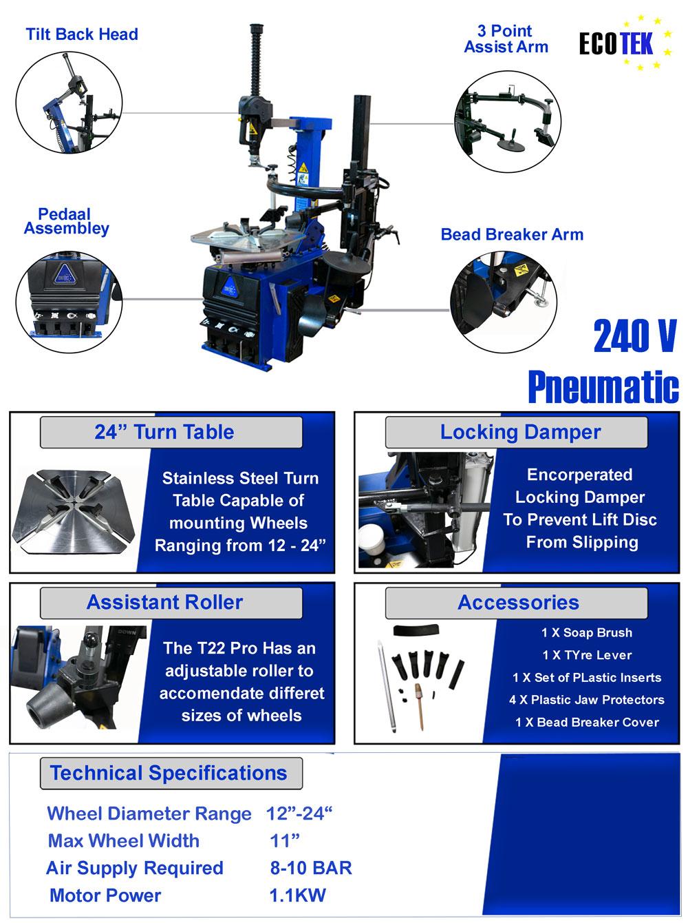 Information flyer for Ecotek T22 tyre changer