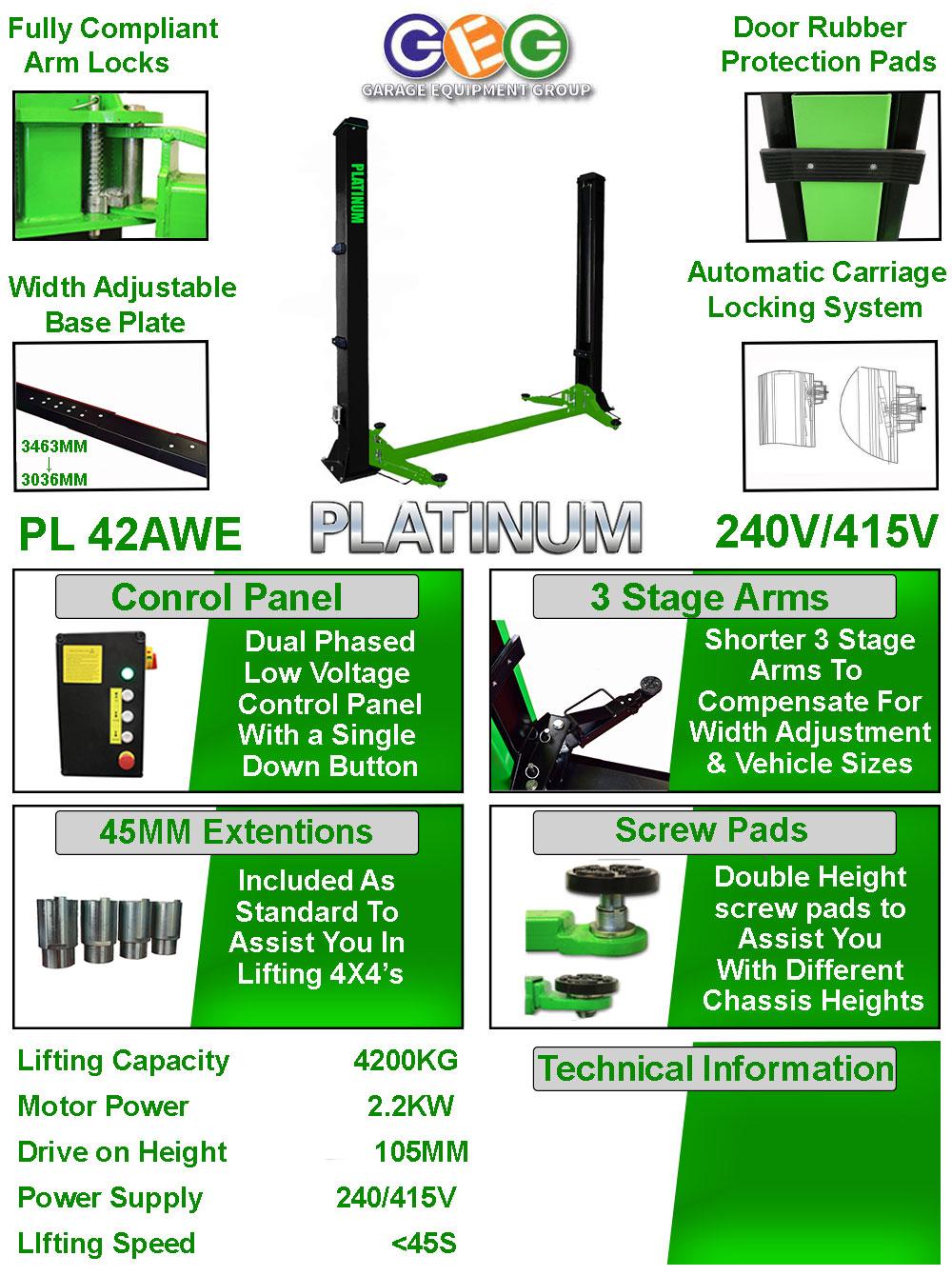 information flyer for platinum 42AWE 2 post lift