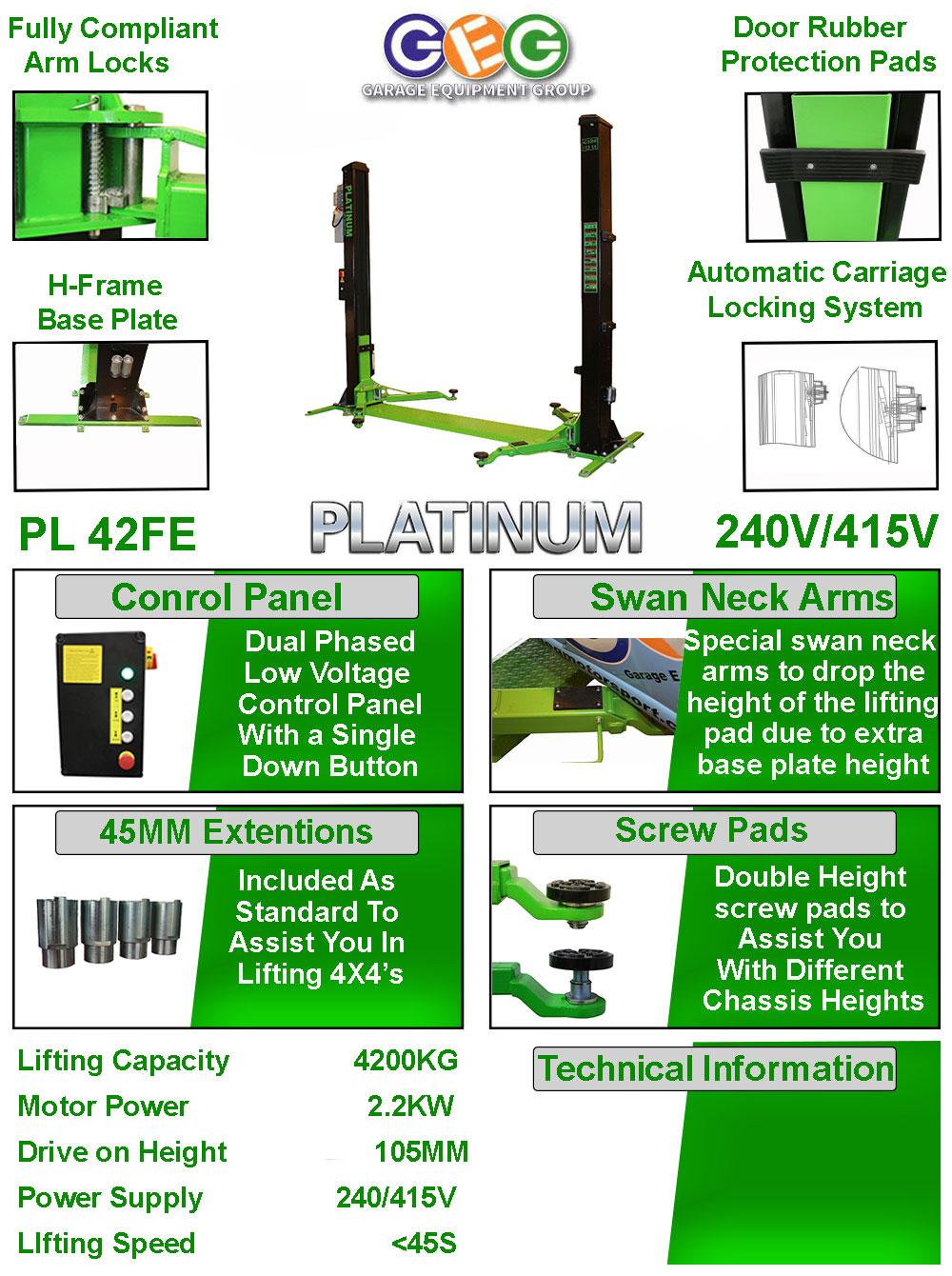 information flyer for platinum 42FE 2 post lift