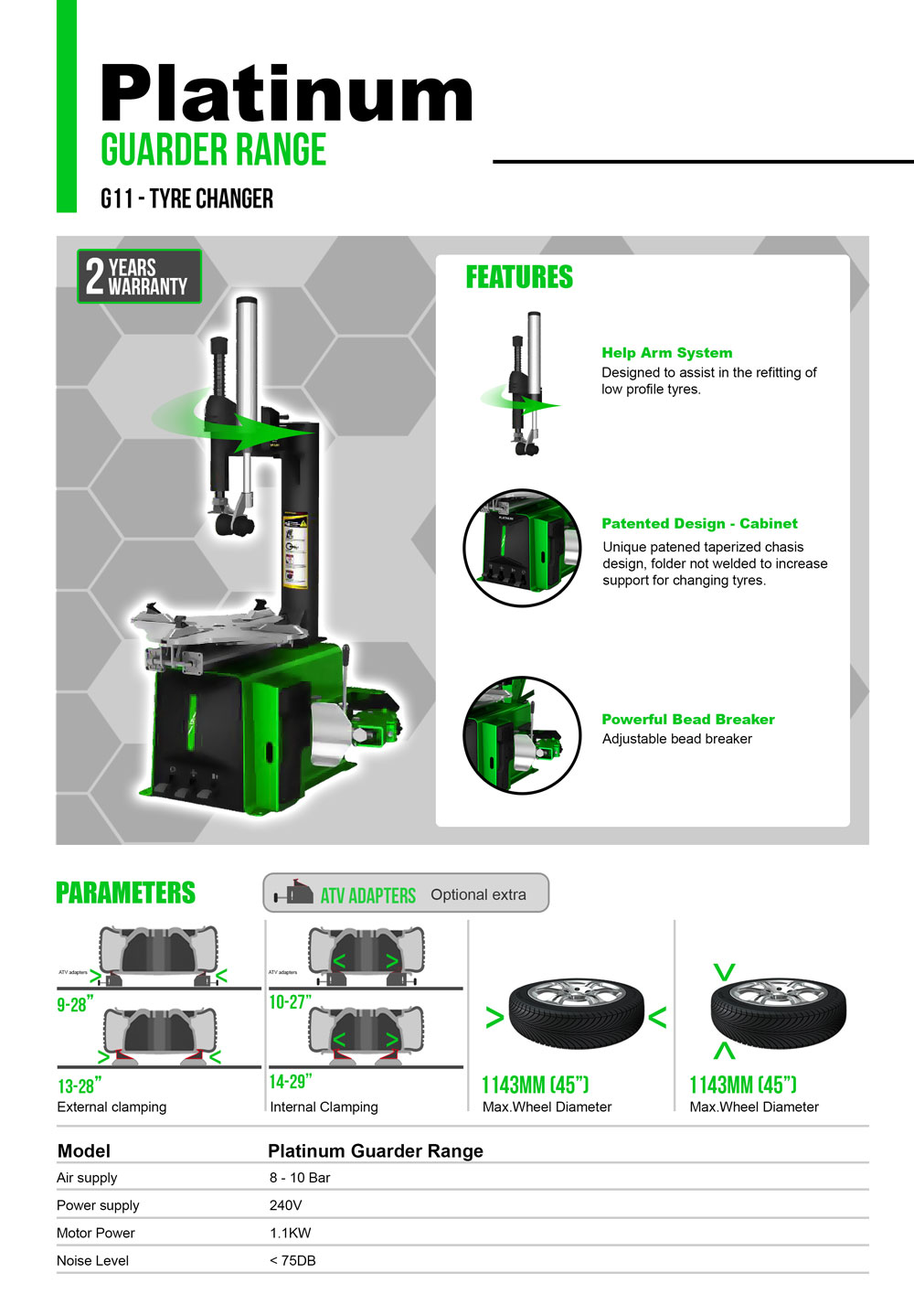 platinum G11 semi automatic tyre changer information flyer