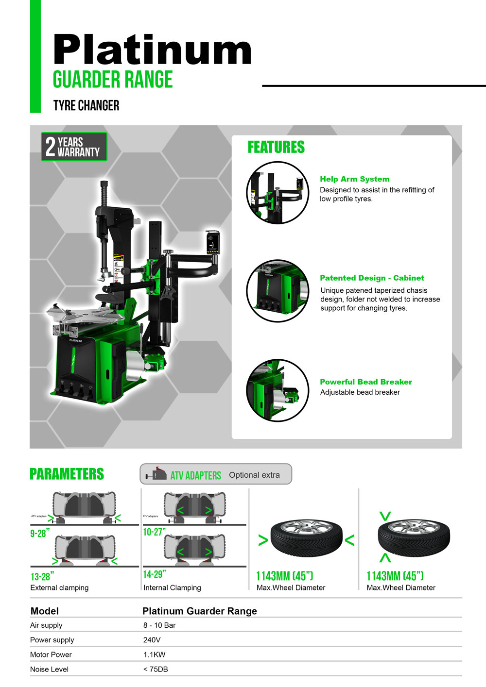 information flyer for platinum g22 fully automatic tyre changer