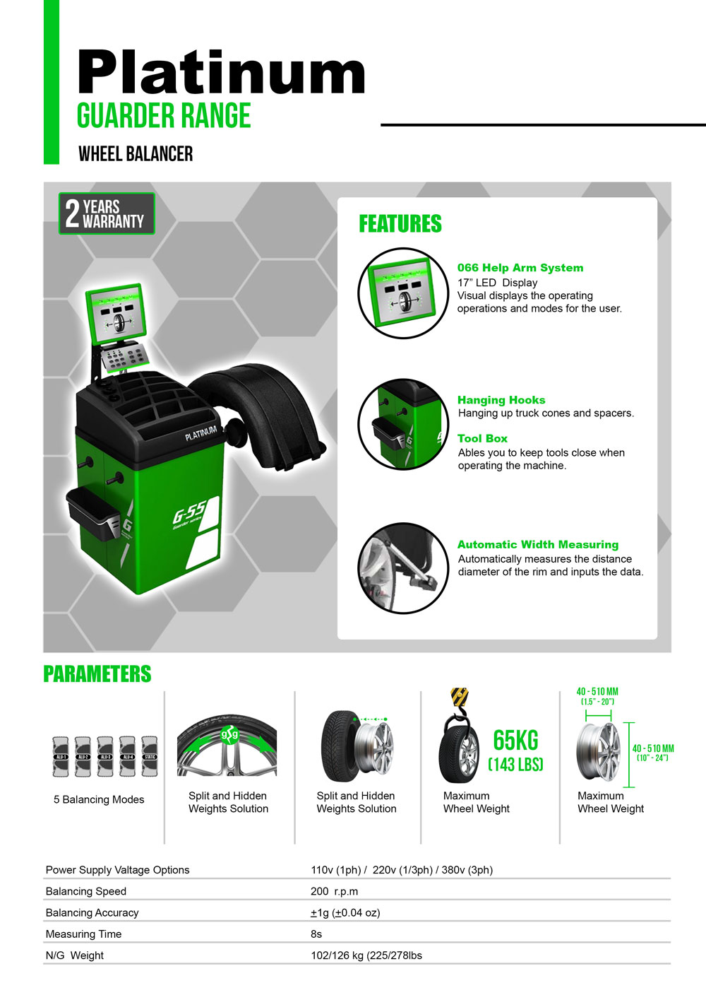 information flyer for platinum g55 fully automatic wheel balancer