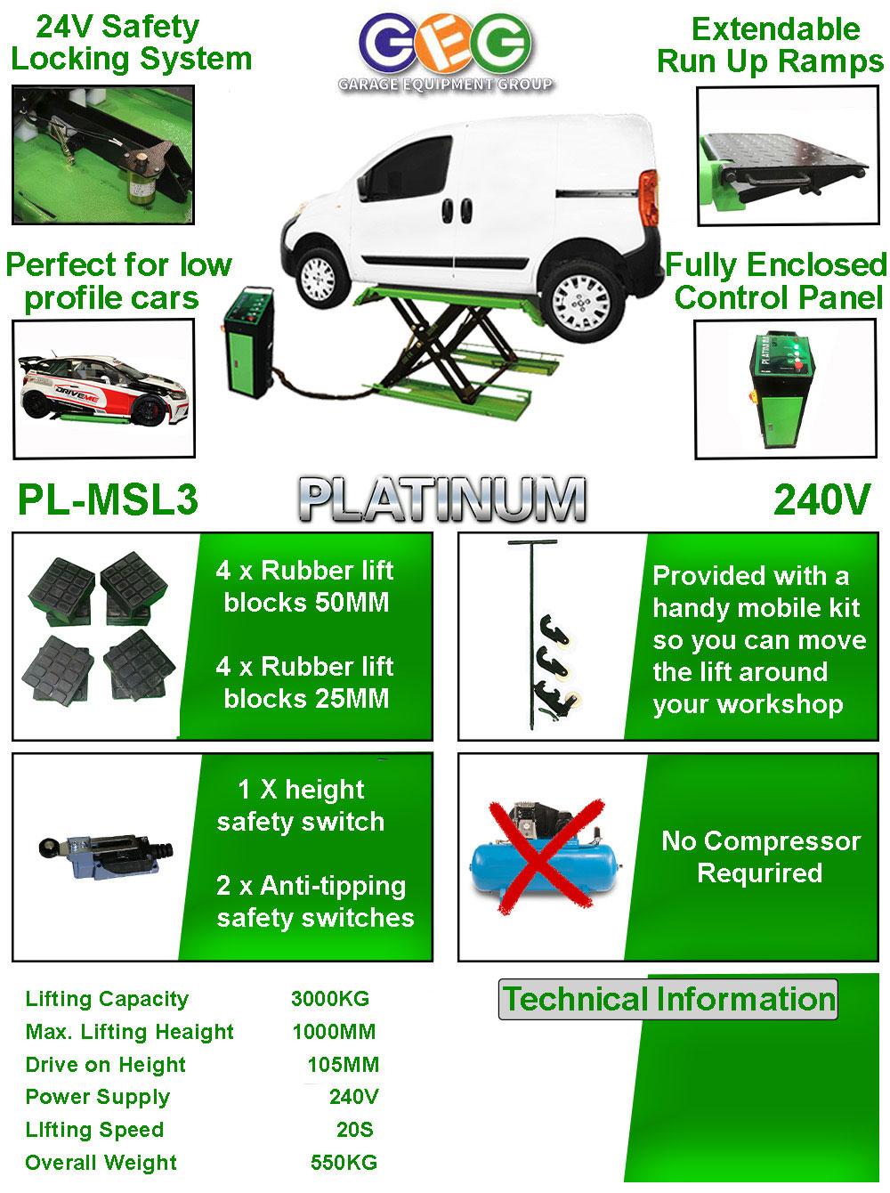 information flyer for Platinum MSL3 mid rise scissor lift