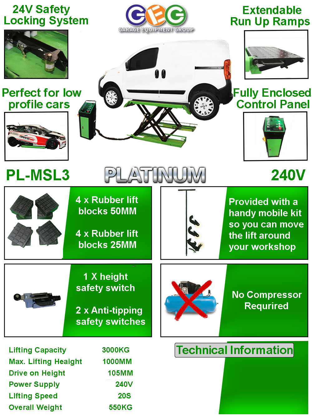 information flyer for Platinum MSL3 mid rise scissor lift