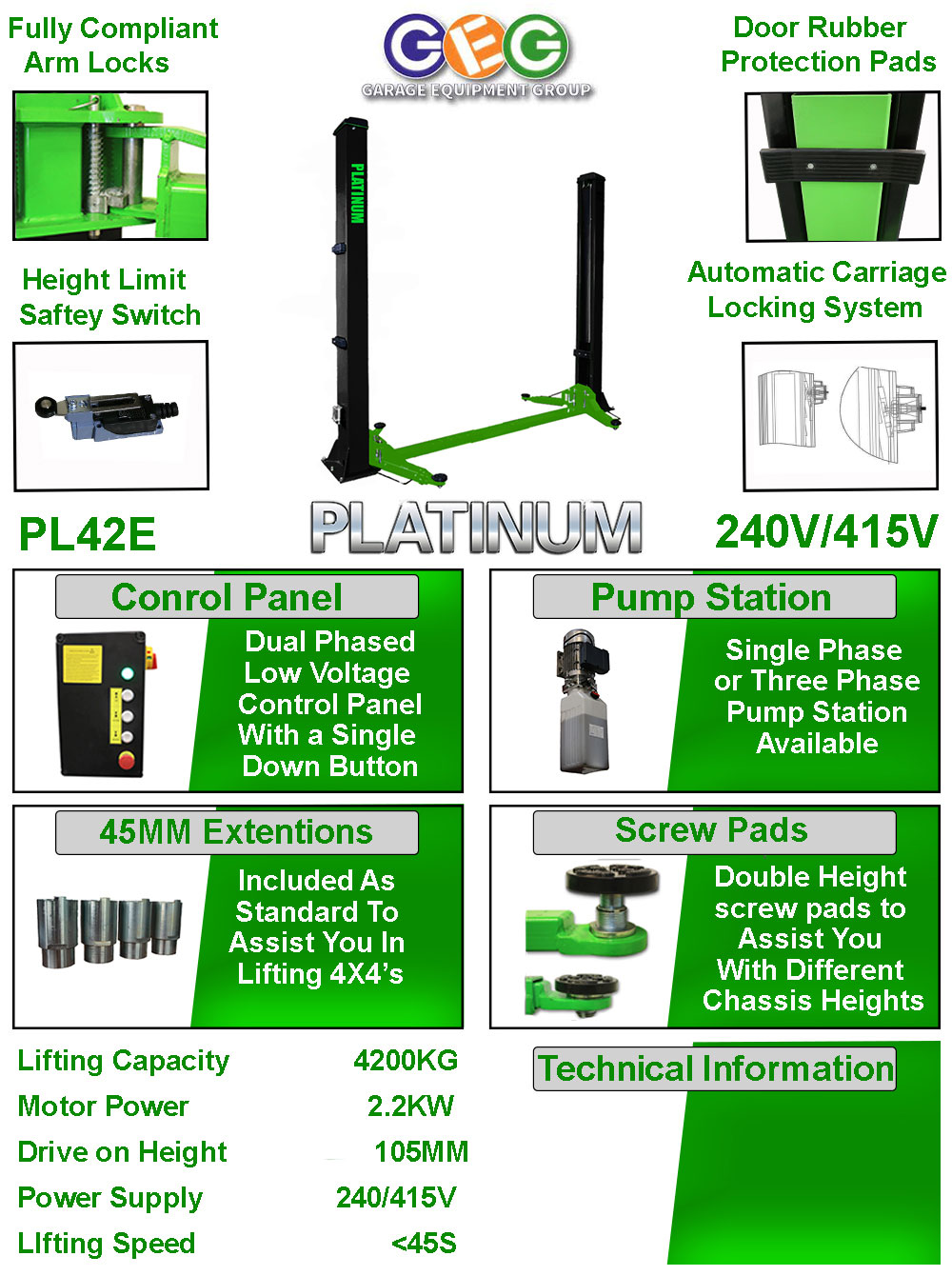information flyer for Platinum 42E 2 post lift