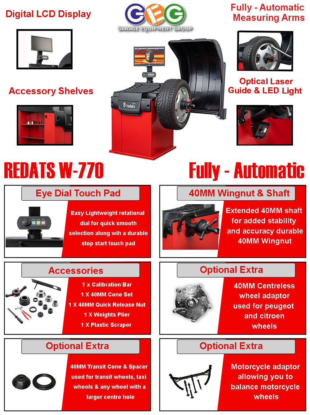 information flyer for W770 wheel balancer