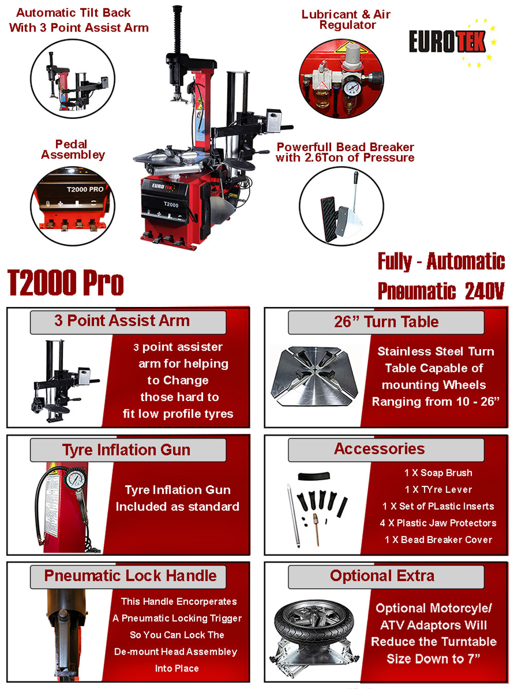 information flyer for T200 Pro tyre changer