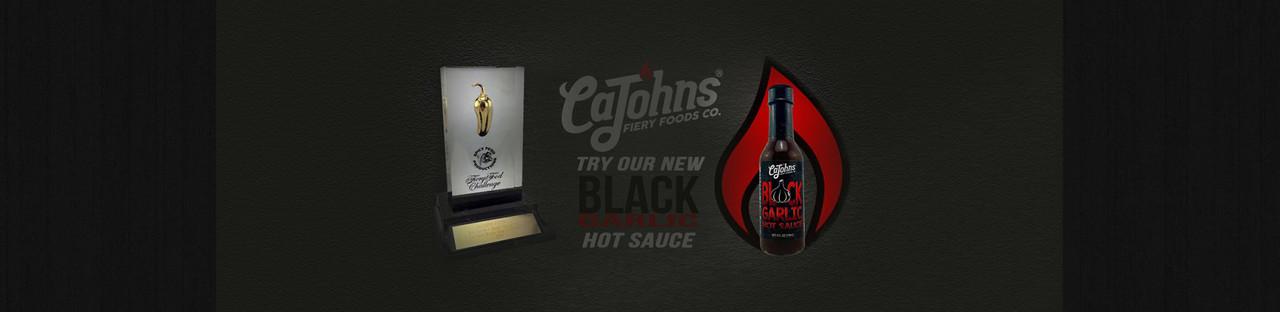 CAJOHN'S BLACK GARLIC HOT SAUCE AT HOTSAUCE.COM - $9.95 FLAT RATE SHIPPING - ALWAYS FREE SHIPPING OVER $69!
