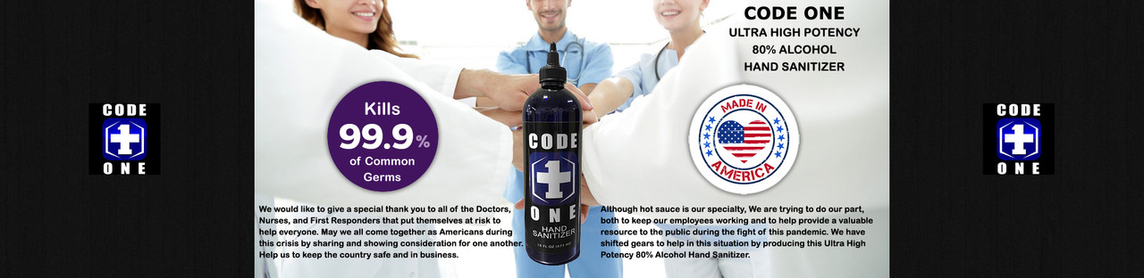 HotSauce.com - Code One Ultra High Potency 80% Alcohol Hand Sanitizer - Made In The USA - FREE Shipping Over $69!