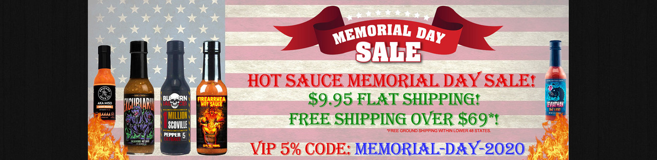 HotSauce.com - Memorial Day 2020 Hot Sauces Sale!  - FREE Shipping Over $69!
