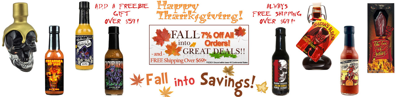 HotSauce.com - 2020 ThanksGiving Day Hot Sauce Sale!  - FREE Shipping Over $69!