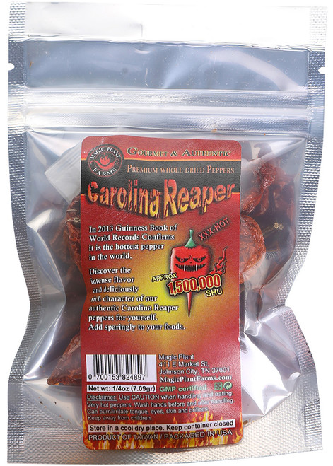 Whole Dried Premium Carolina Reaper Pods, 1/4oz.