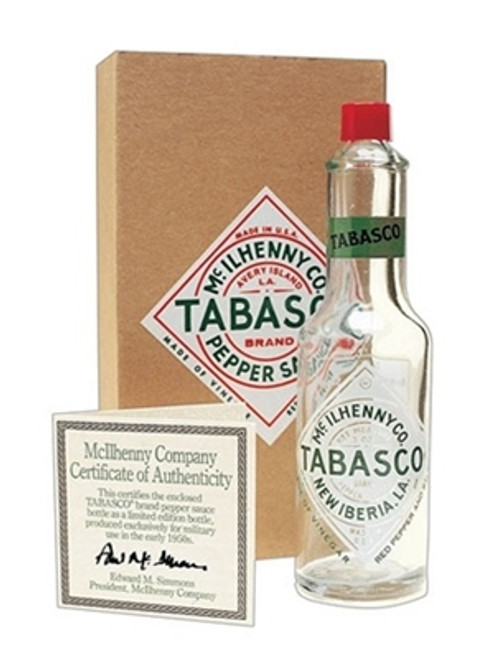TABASCO® Orig 1950s Fused Label Glass Military Bottle - 3oz. (SOLD OUT!)