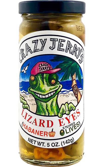 Crazy Jerry's Lizard Eyes Habanero Stuffed Olives, 5oz.